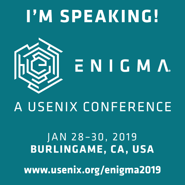 I'm Speaking at Enigma 2019 button