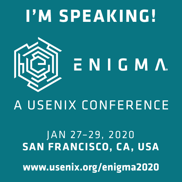 I'm Speaking at Enigma 2020 button